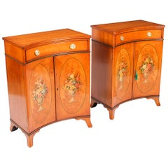 Antique Pair of Adam Revival Satinwood Side Cabinets Commodes, 19th Century