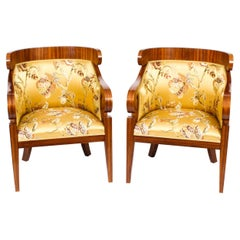Antique Pair Art Deco Zebra Wood Armchairs, 20th Century