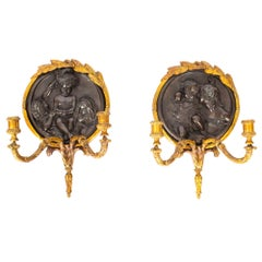 Antique Pair of Beautiful Ormolu and Bronze Wall Sconces Dated 1848 19th Century