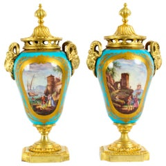 Antique Bleu Celeste Sèvres Porcelain Gilt Bronze Lidded Urns 19th Century, Pair