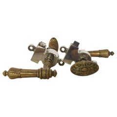 Pair of Brass French Regency Door Pulls Handle Lever Knobs Stamped FRANCE