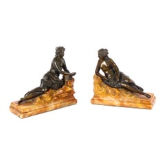 Antique Pair Bronze Semi-Nude Classical Ladies Sculptures / Bookends 19th C