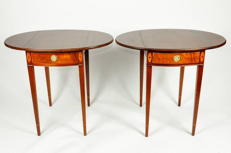 Antique pair cherry / satinwood banded pembroke drop-leaf extension side table with front drawer. Each table is in excellent antique condition. Minor wear consistent with age / use. Each side table measure 27 inches high x 23 inches length x 17 wide