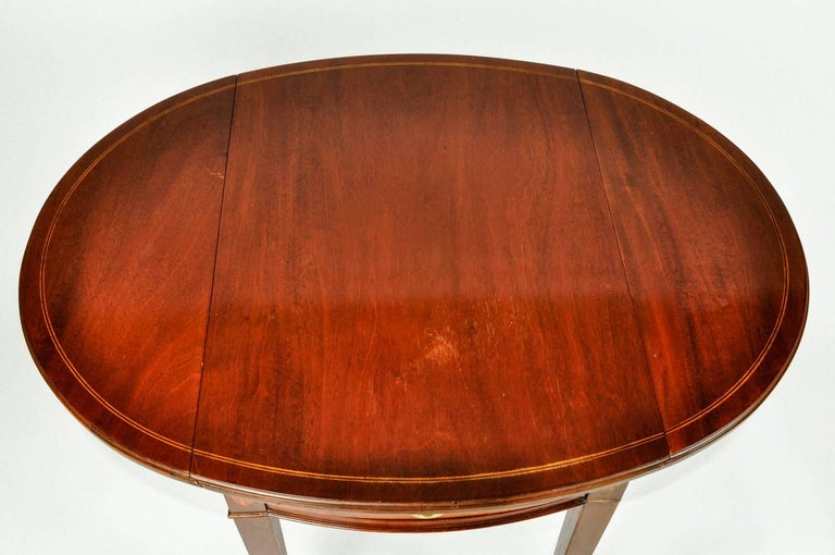 European Antique Pair of Cherry / Satinwood Banded Pembroke Side Tables For Sale