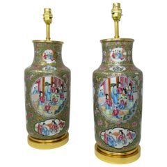 Antique Pair of Chinese Cantonese Famile Rose Hand Painted Table Lamps Ormolu