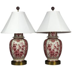 Antique Pair of Large Chinese Decorated Porcelain Ginger Jar Table Lamps, 20th C