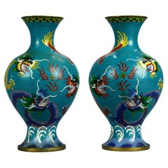 Antique Pair Chinese Meiji Cloisonne Enameled Dragon Vases, Circa 1900