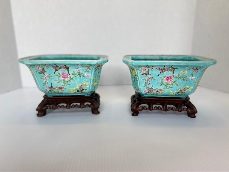 Hand-Crafted Antique Pair of Chinese Porcelain Jardinières