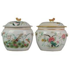 Antique Pair of Chinese Porcelain Kamcheng Tureen Fencai, Qing Guangxu