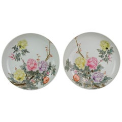 Antique Pair Chinese Porcelain Republic Period Marked Plates Mirroring Flowers