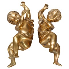 Antique Pair of Classical Greek Cast Gilt Bronze Cherub Sculptural Elements