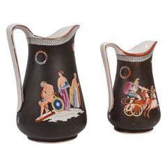 Antique Pair, Decorative Pouring Jugs, English, Ceramic, Serving Ewer, Victorian