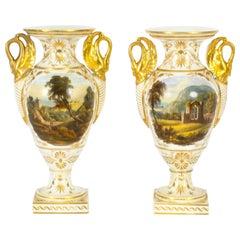Antique Pair Derby Gilt Swan Neck Handled Ovoid Cabinet Vases, 18th Century