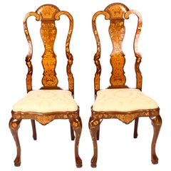 Antique Pair of Dutch Floral Marquetry Walnut Dining Chairs Late 18th Century