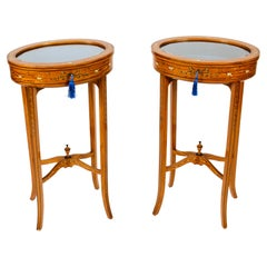Antique Pair Edwardian Satinwood Painted Bijouterie Display Tables Early 20th C