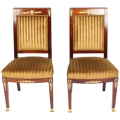 Antique Pair of Empire Ormolu Mounted Side Chairs, 19th Century