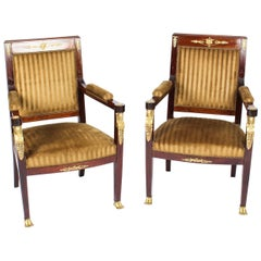Antique Pair of Empire Revival Ormolu Mounted Armchairs, 19th Century