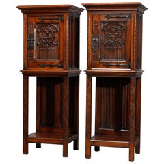 Antique Pair of English Gothic Revival Carved Oak Side Cabinets, circa 1890