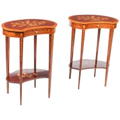 Antique Pair of English Marquetry Kidney Shaped Occasionally Tables 19th Century