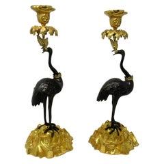 Antique Pair of English Ormolu Gilt Bronze Candlesticks Storks Cranes by Abbott