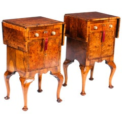 Pair of English Queen Anne Revival Burr Walnut Bedside Cabinets 19th Century