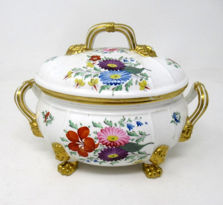 Regency Antique Pair English Royal Crown Derby Hand Painted Tureens Centerpieces Bowls For Sale