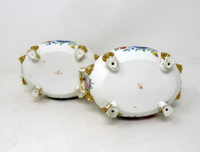19th Century Antique Pair English Royal Crown Derby Hand Painted Tureens Centerpieces Bowls For Sale