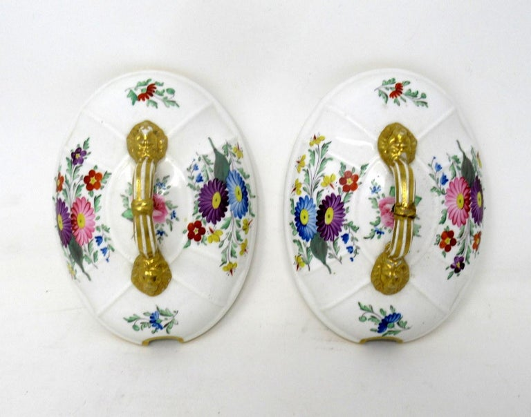 Ceramic Antique Pair English Royal Crown Derby Hand Painted Tureens Centerpieces Bowls For Sale