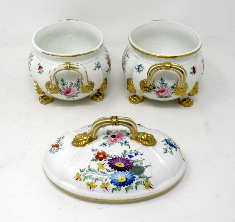 Antique Pair English Royal Crown Derby Hand Painted Tureens Centerpieces Bowls For Sale 1