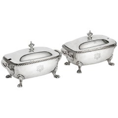 Antique Pair English Sterling Siver Quce Tureens Garrard & Co, 19th Century