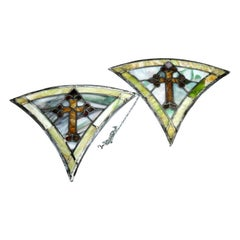Antique Pair Fan Form Leaded Stained Glass Crucifix Panels, Circa 1900