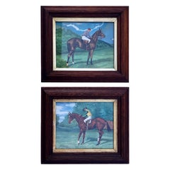 Antique Pair of Fine Watercolours, Thoroughbred Racehorse Sceptre W/ Jockey Up
