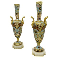 Antique Pair French Alabaster Champlevé Enamelwork Ormolu Gilt Bronze Vase Urns