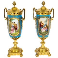 19th Century Pair of French Bleu Celeste Ormolu Mounted Sevres Lidded Vases