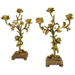 Antique Pair of French Breche Violet Gilt Bronze Ormolu Candelabra Candlestick