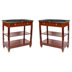 Pair of French Burr Walnut Empire Pier Cabinets / Serving Tables, 19th Century