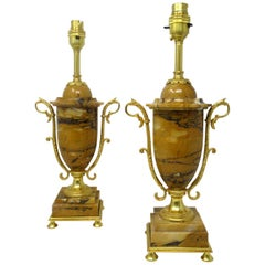 Pair of French Giallo Sienna Marble Gilt Bronze Ormolu Electric Table Lamps