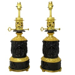 Antique Pair French Gilt Bronze Electric Table Lamps Ormolu Mounts, 19th Century