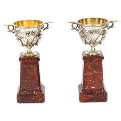 Antique Pair French Grand Tour Silvered Bronze Pedestal Urns, 19th Century
