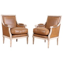 Antique Pair of French Leather Bergère/Armchairs in the Louis XVI Manner