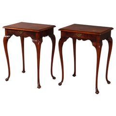 Antique Pair of French Louis XV Cross Banded Inlay Single Drawer End Tables