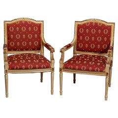 Antique Pair French Louis XVI Style Parcel-Gilt Bergere Chairs, 20th Century