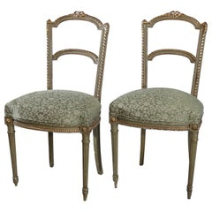 Antique Pair of French Louis XVI Style Parcel-Gilt Side Chairs, circa 1880
