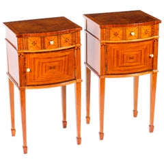 Antique Pair of French Maple & Co Satinwood Bedside Cabinets, 19th Century