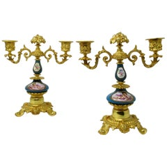 Pair of French Ormolu Gilt Bronze Sevres Porcelain Candelabras, 19th Century