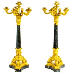 Antique Pair of French Ormolu and Marble Candelabra, 19th Century
