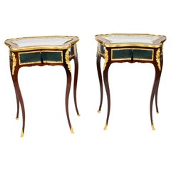 Antique Pair French Ormolu Mounted Bijouterie Display Tables, 19th Century