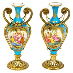 Antique Pair of French Ormolu Mounted Bleu Celeste Sèvres Vases, 19th Century