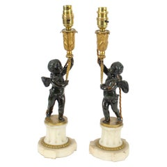 Antique Pair of French Ormolu & Patinated Bronze Cherub Table Lamps 19th C