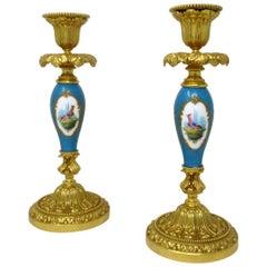 Antique Pair of Ormolu Sevres Porcelain Gilt Bronze Candlesticks Candelabra
